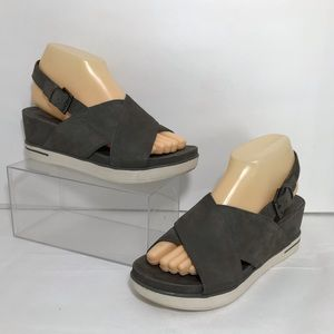 Eileen Fisher Good Wedge Grey Leather Sandals Sz 8